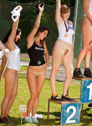 Nudists athletic - pee competition