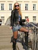 Girl in pantyhose on a street