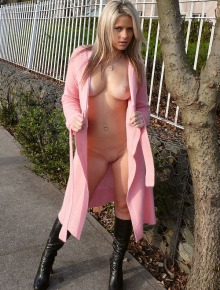 Ann getting naked outside