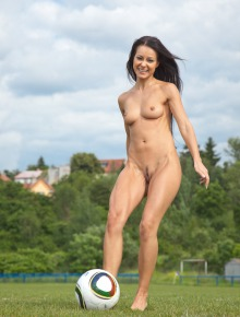 Ariel plays soccer with Melisa
