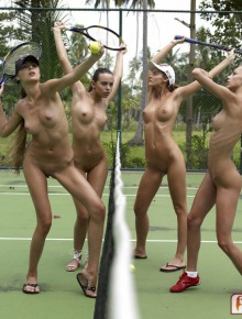 Four sexy tennis players
