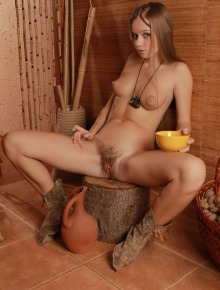 Hairy pussy babe has some milk