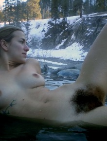 hippie girl with very hairy bush and armpits outdoors