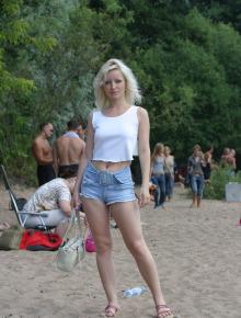 Sweet blonde beauty wears bikini