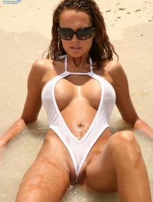 Sweet girl wears white bikini