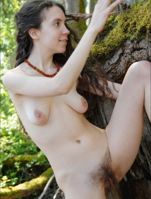 Teen shows her hairy bush and pits out in nature
