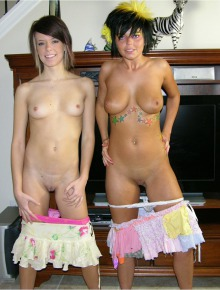 Two Hot Amateur Teens Modeling Nude Together
