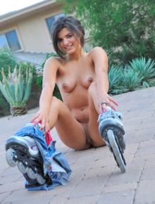 Young Trisha rollerblading