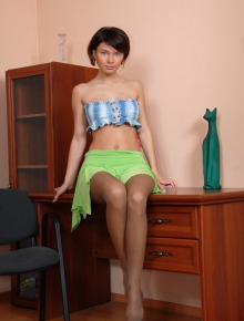 Charming brunette prefers nylon