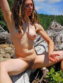 Dread locks and hairy bushed hippie girl