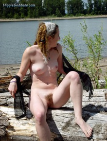 Hippie girl at the beach