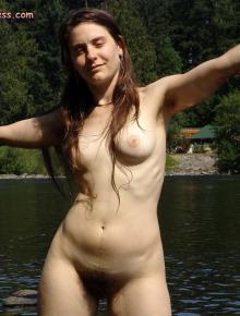 Natural Hippie girl strips down at the beach