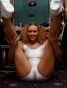 Playful chick shows her cameltoe